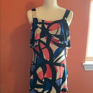 Nine West Coral/Cobalt Maxi Dress Size 2 NWT